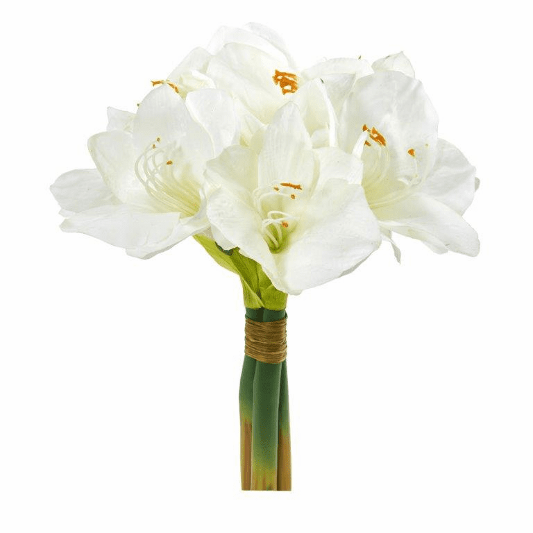 White 14� Amaryllis Bouquet Artificial Flower (Set of 3