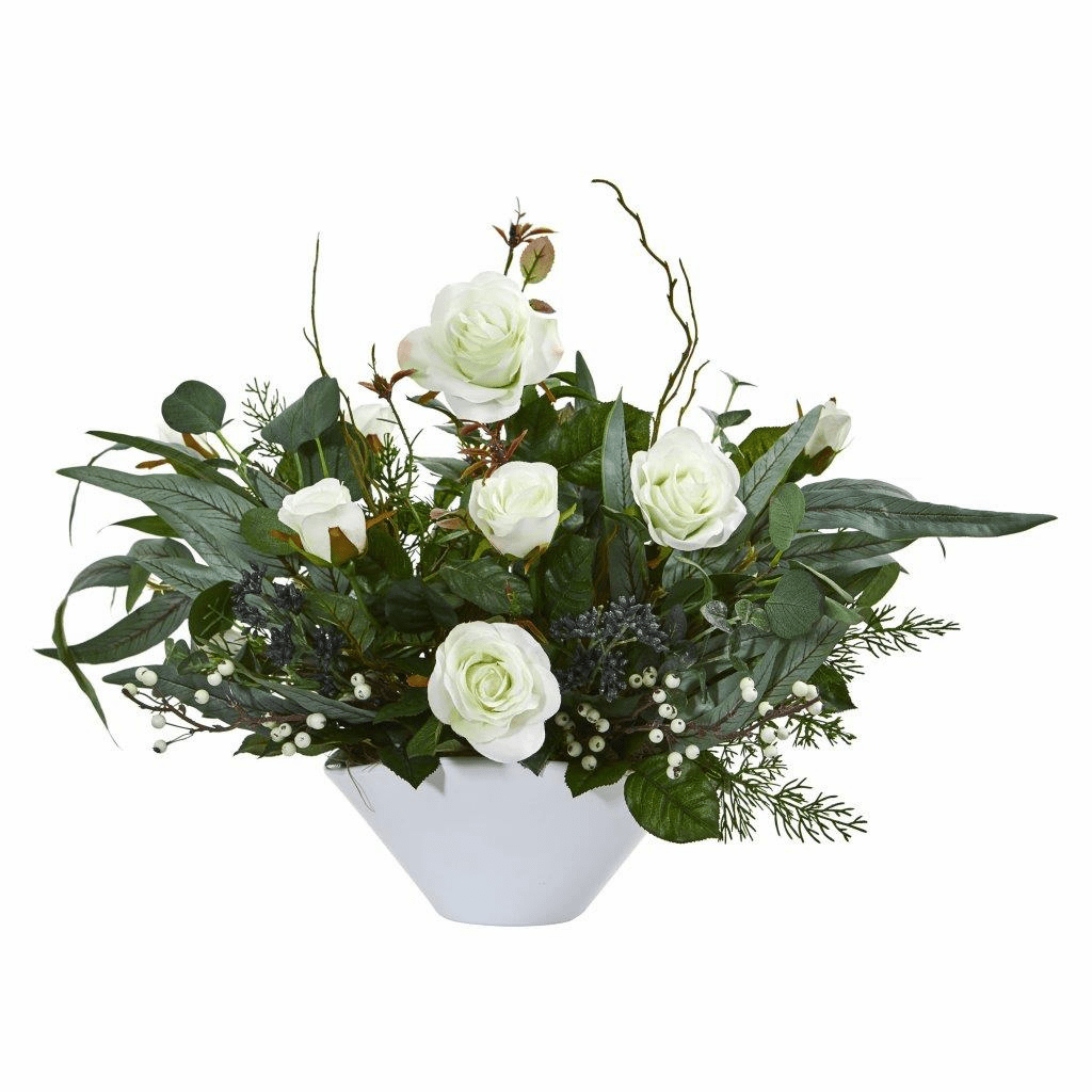 16� White Rose and Eucalyptus Artificial Arrangement in Vase