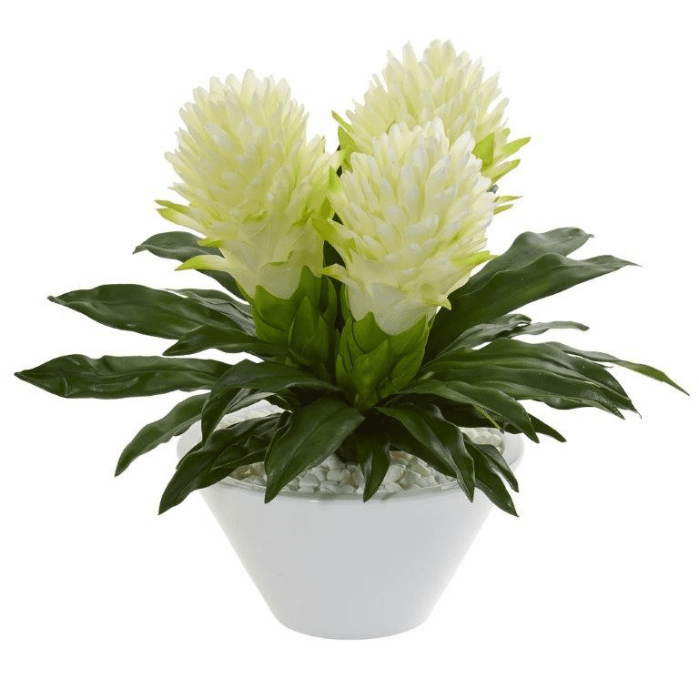 17� White Ginger Artificial Plant in White Vase