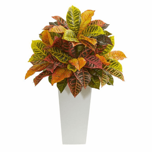 """White 27"""" Croton Artificial Plant in White Tower Planter (Real Touch)"""