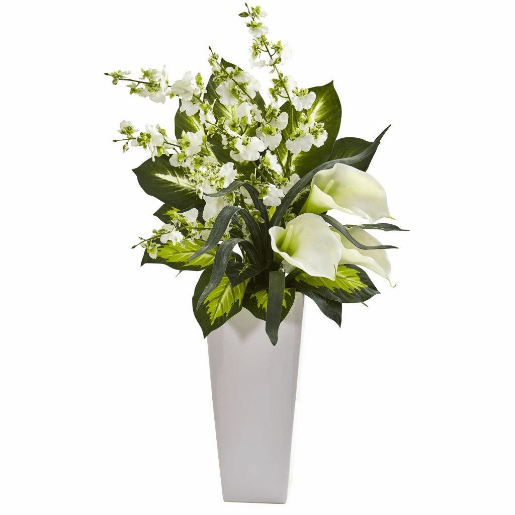 29� White Calla Lily & Orchid Artificial Arrangement in Black Vase