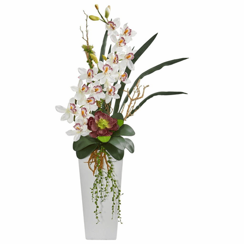 3' White Cymbidium Orchid and Succulent Artificial Arrangement
