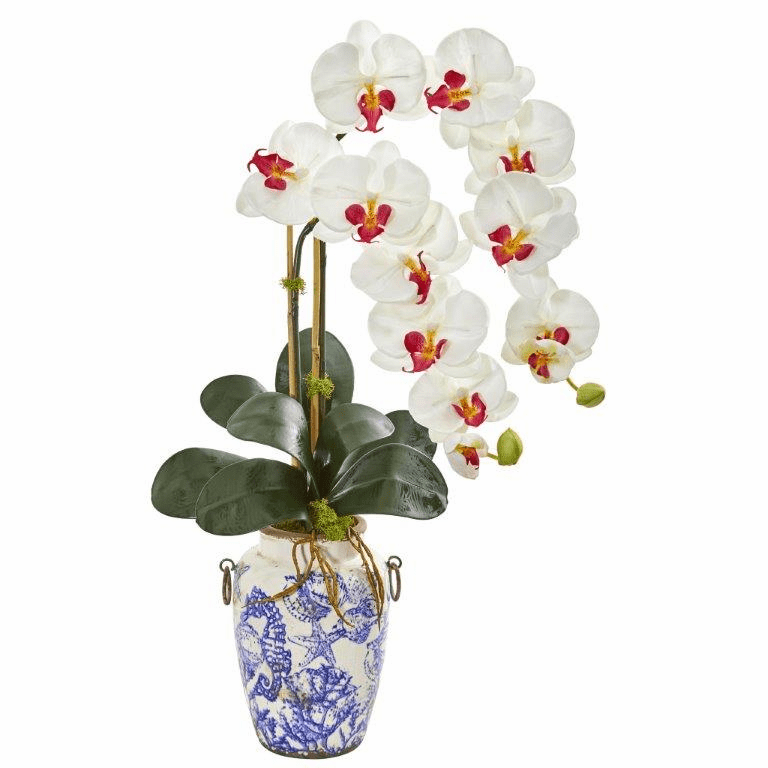 White 31� Phalaenopsis Orchid Artificial Arrangement in Weathered Ocean Vase