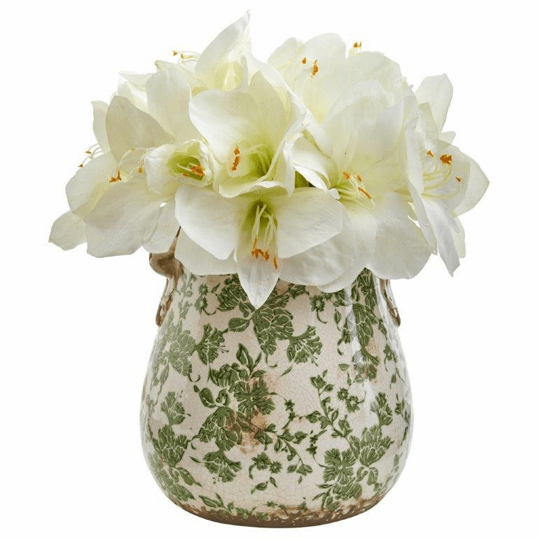 "15"" White Amaryllis Artificial Arrangement in Floral Print Vase"