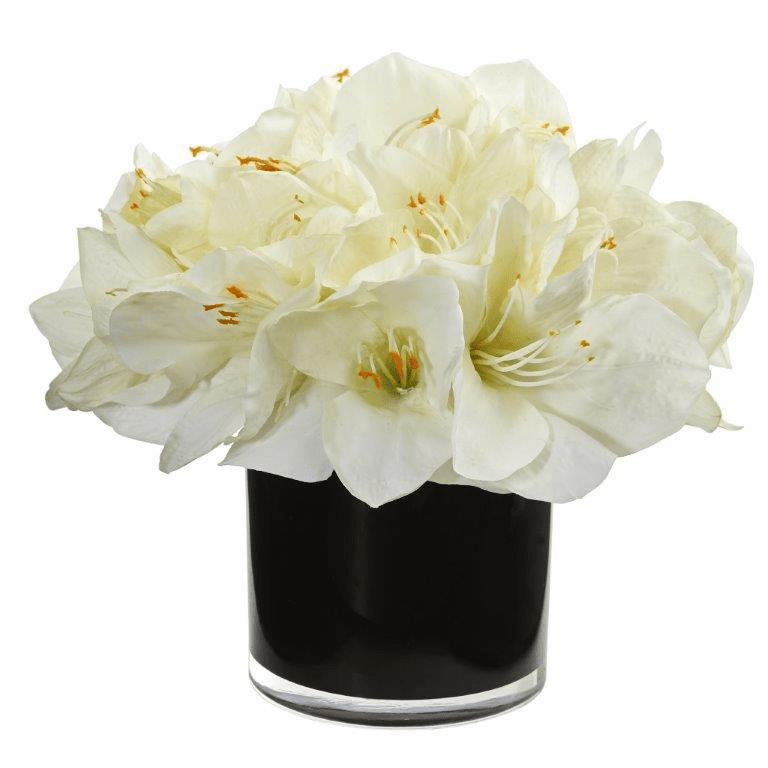 "11"" White Amaryllis Artificial Arrangement in Glossy Cylinder"