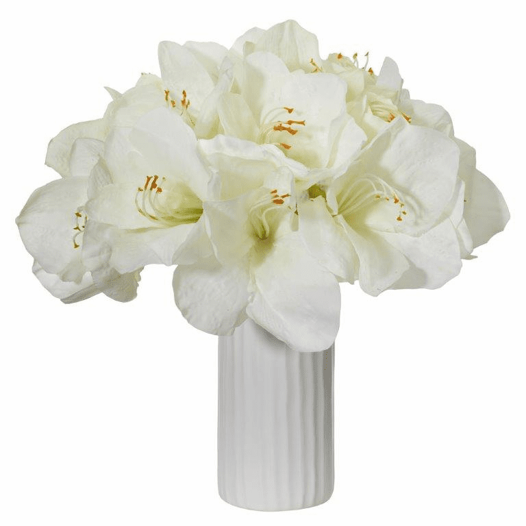"14"" White Amaryllis Artificial Arrangement in White Vase"