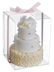 White Artificial 3 Tier Cake - Set of 8 - Individually Boxed