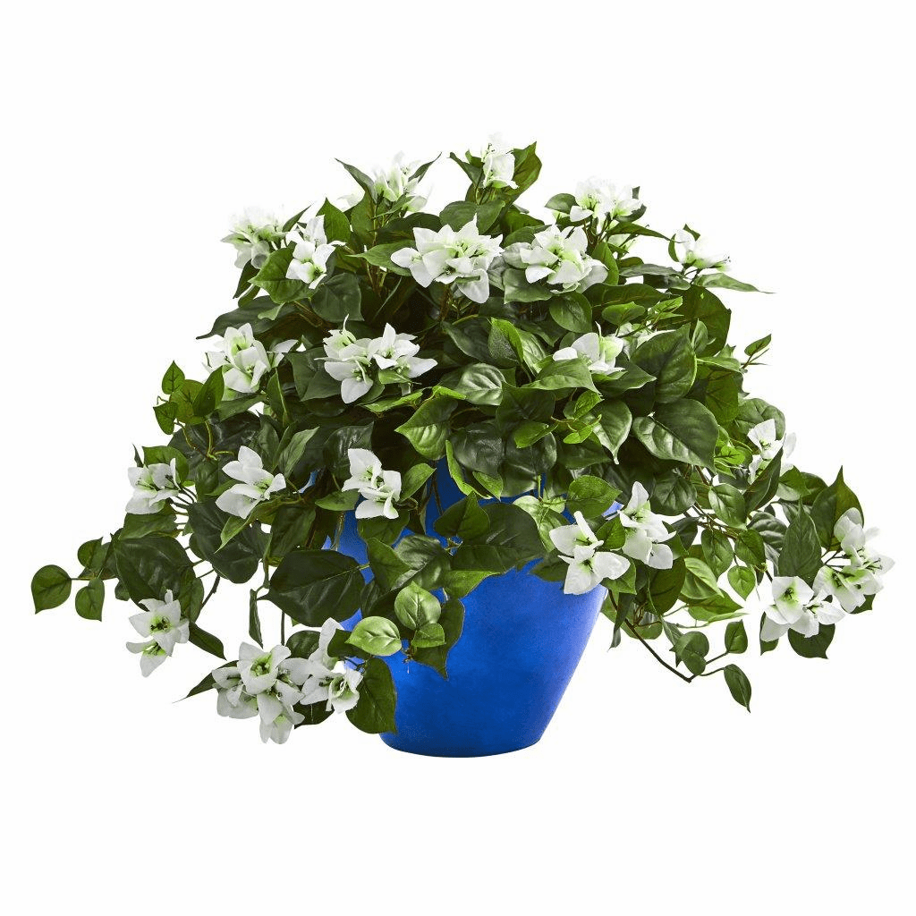 "22"" White Bougainvillea Artificial Plant in Blue Planter"