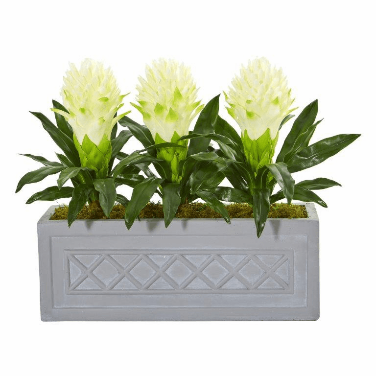 "19"" White Bromeliad Artificial Plant in Stone Planter"