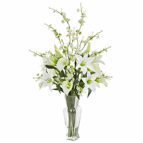 "29"" White Calla, Lily and Cherry Blossom Artificial Arrangement"