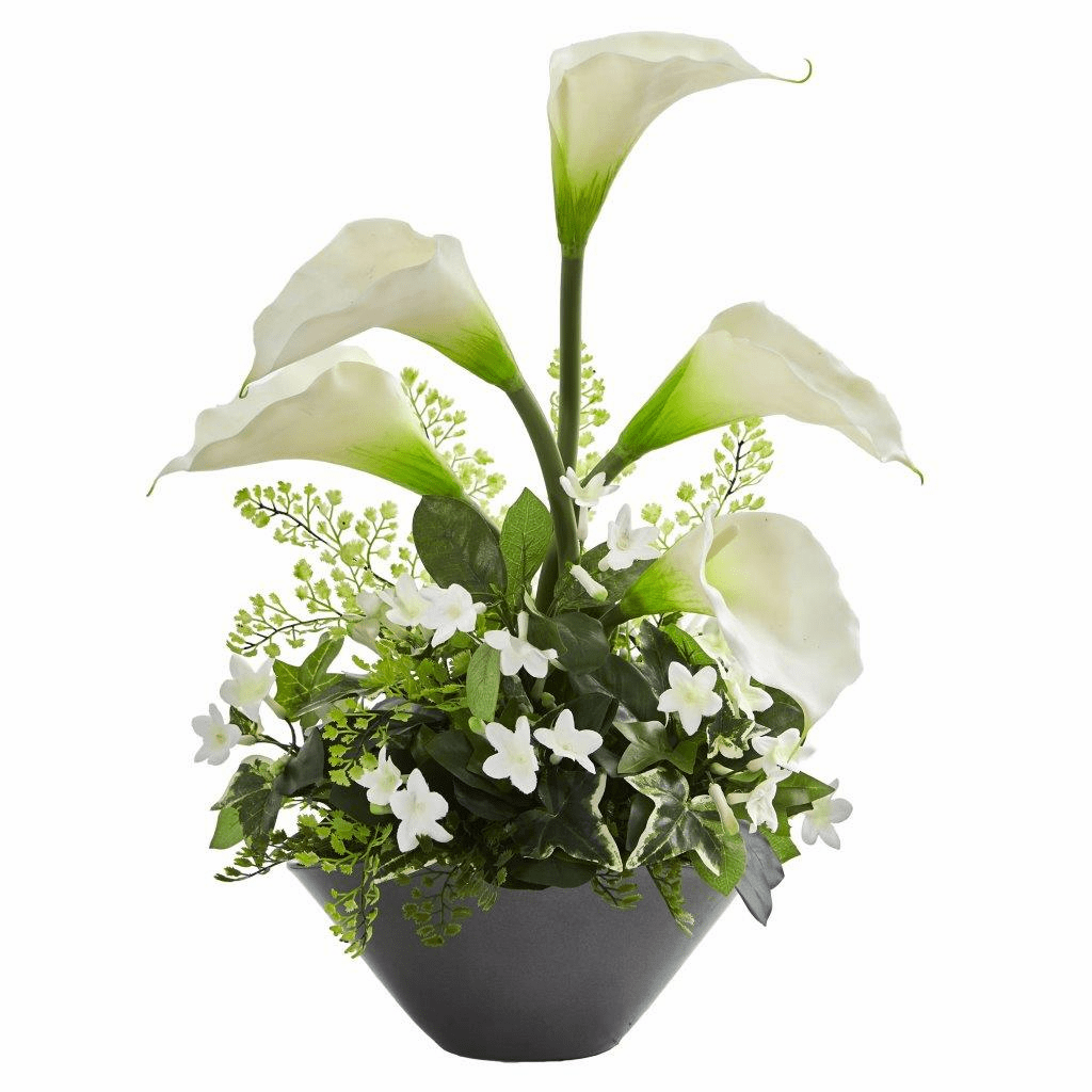 "20 "" White Calla Lily & Stephanotis Artificial Arrangement in Ceramic Vase"