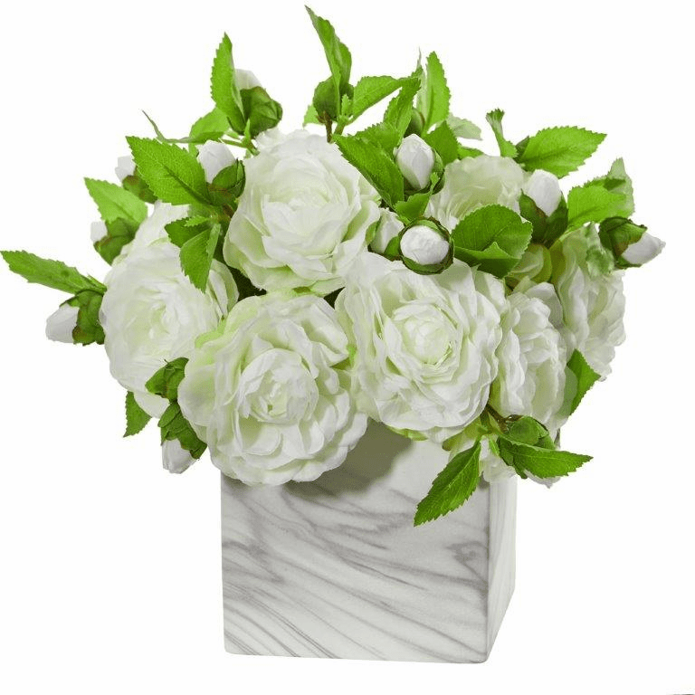 White Camellia Artificial Arrangement in Marble Finished Vase