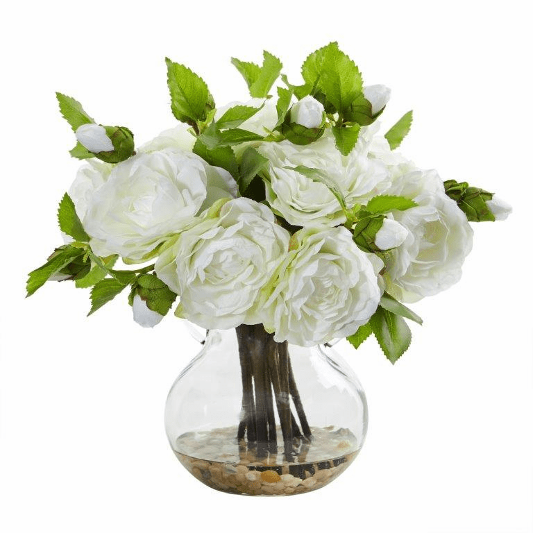 "11"" White Camellia Artificial Arrangement in Vase"