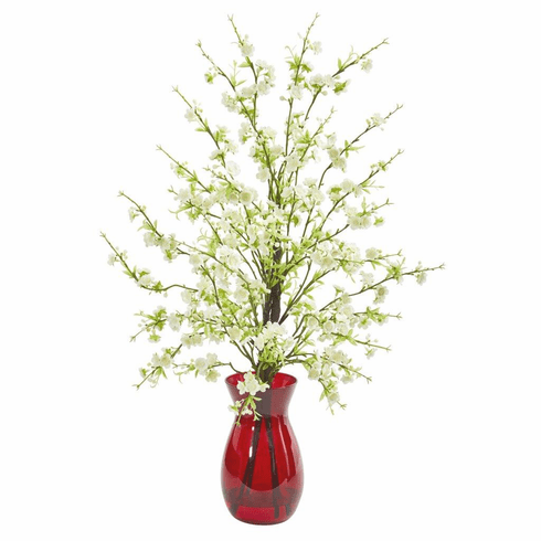 "28"" White Cherry Blossom Artificial Arrangement in Ruby Vase"