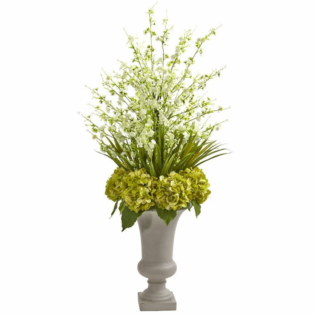 "42"" White Cherry Blossom & Hydrangeas Artificial Arrangement in Urn"