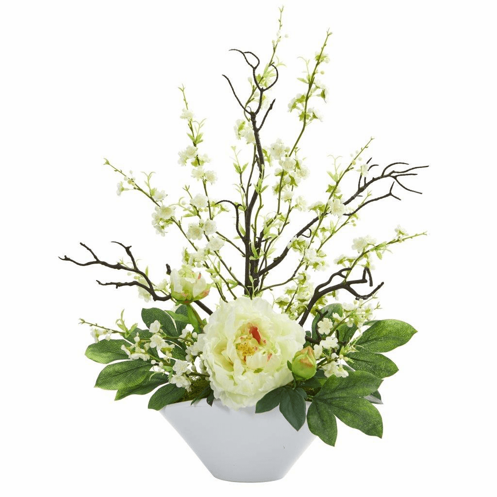 "23"" White Cherry Blossom & Peony Artificial Arrangement"