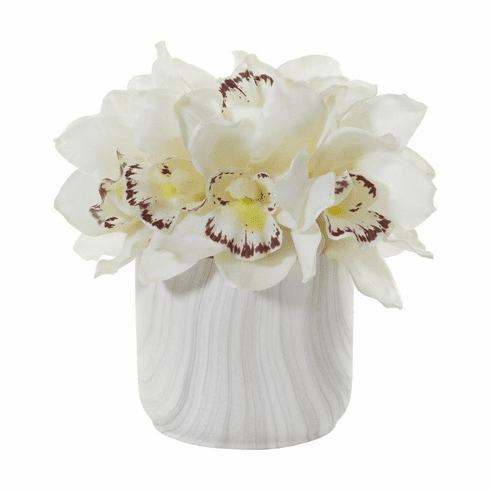 "7"" White Cymbidium Orchid Artificial Arrangement in Marble Vase"