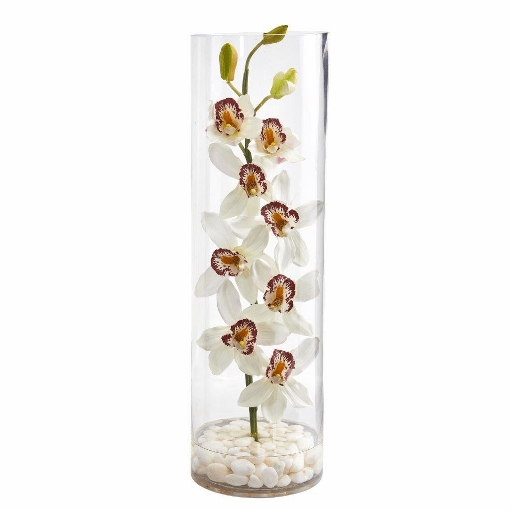 """20"""" White Cymbidium Orchid Artificial Arrangement in Tall Cylinder Vase"""