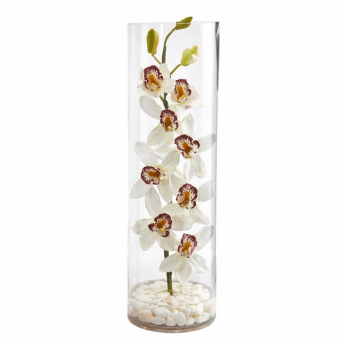 "20"" White Cymbidium Orchid Artificial Arrangement in Tall Cylinder Vase"