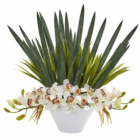 "24"" White Cymbidium Orchid Artificial Arrangement in White Bowl"