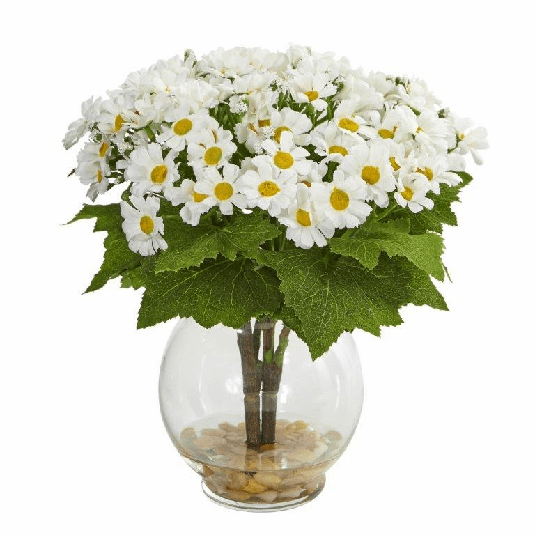 "10"" White Daisy Artificial Arrangement in Fluted Vase"