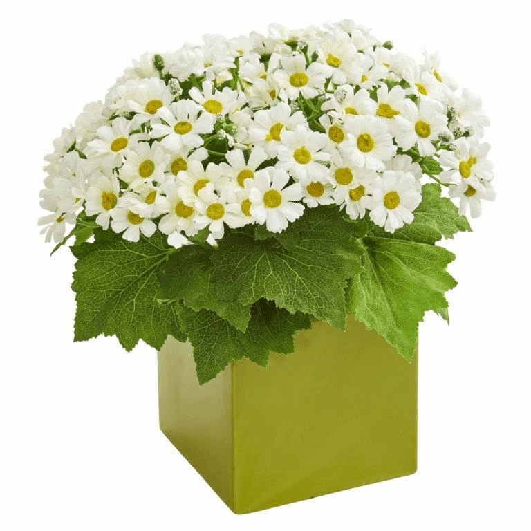 "11"" White Daisy Artificial Arrangement in Green Vase"