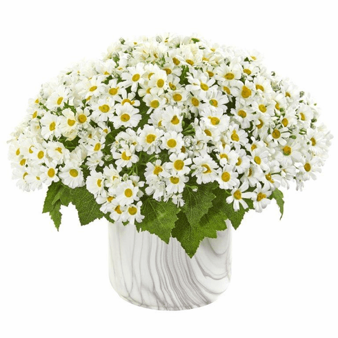 White Daisy Artificial Arrangement in Marble Finished Vase