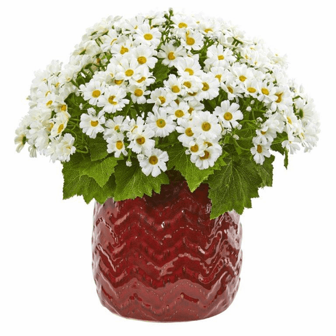 """14"""" White Daisy Artificial Arrangement in Red Planter"""