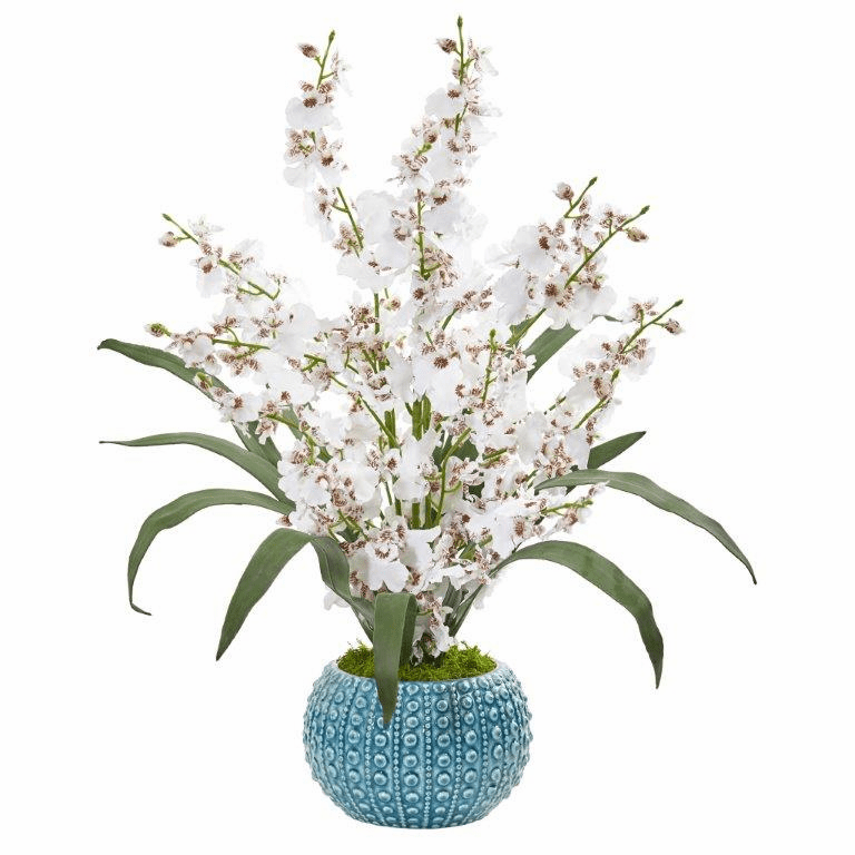 "20"" White Dancing Lady Orchid Artificial Arrangement in Blue Vase"