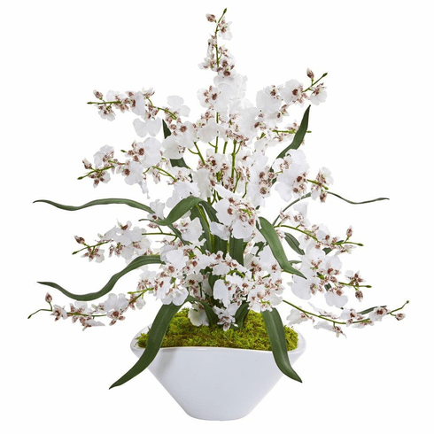 "21"" White Dancing Lady Orchid Artificial Arrangement in White Vase"