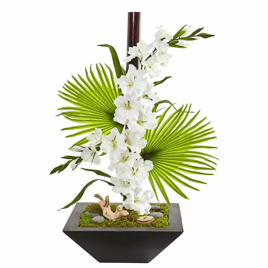 "31"" White Gladiolas and Fan Palm Artificial Arrangement in Black Vase"