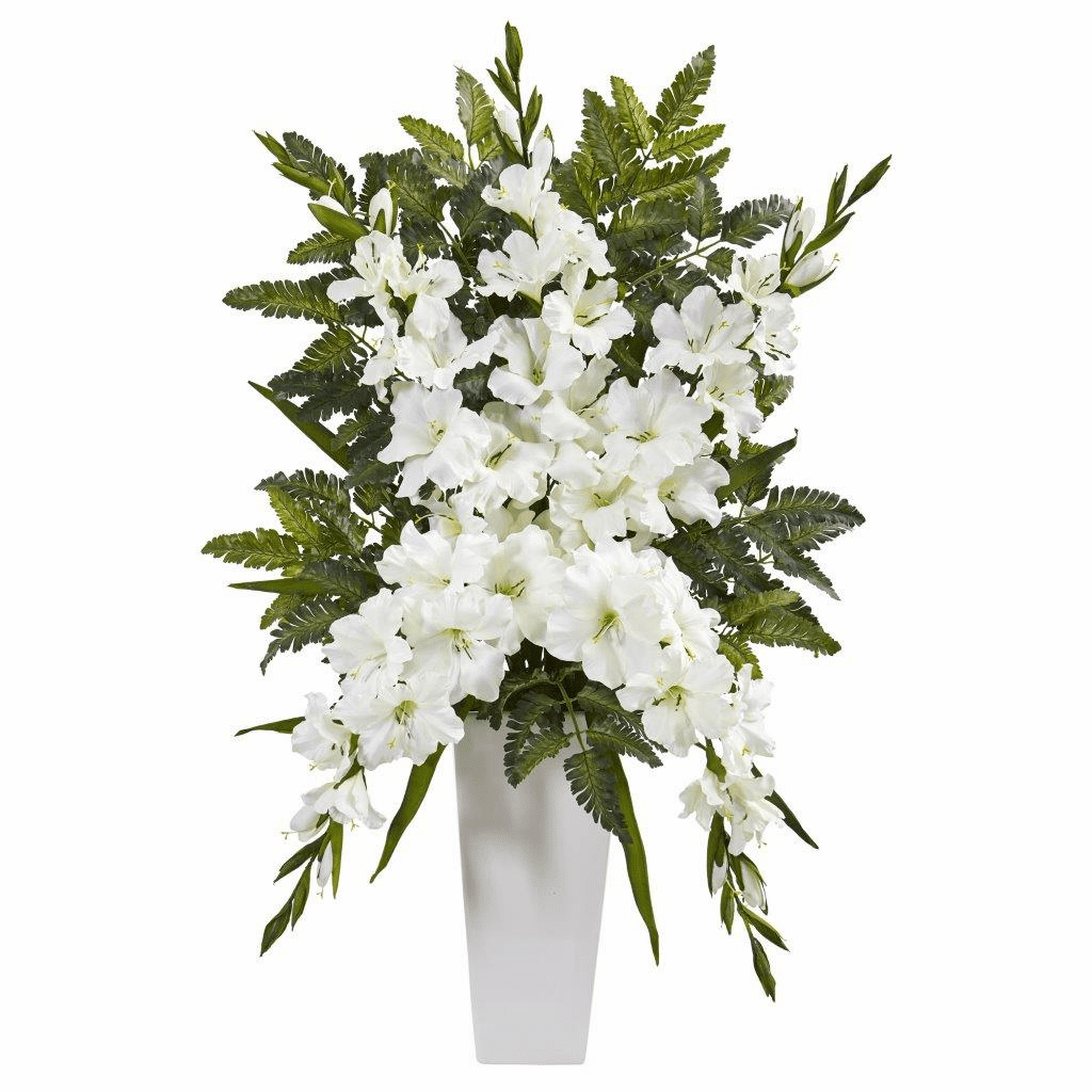 "35"" White Gladiolas & Fern Artificial Arrangement in White Vase"