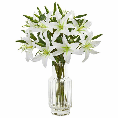 """24"""" White Lilly Artificial Arrangement in Glass Vase"""