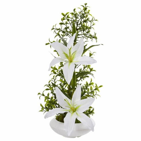 "18"" White Lily and Boxwood Artificial Arrangement in White Planter"