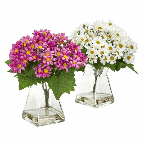 "9"" White Mauve Daisy Artificial Arrangement in Vase (Set of 2)"