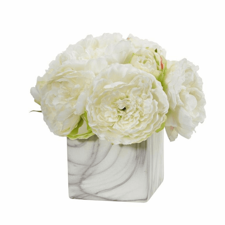 "10"" White Peony Artificial Arrangement in Marble Finished Vase"