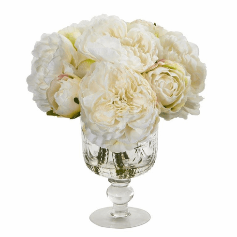 "12"" White Peony Artificial Arrangement in Royal Glass Urn"