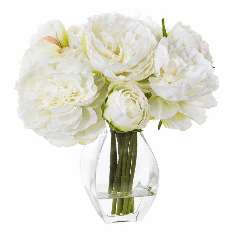 "12"" White Peony Artificial Arrangement in Vase"