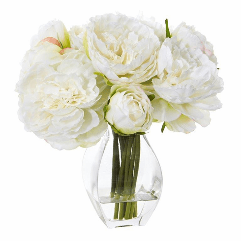 White Peony Artificial Arrangement in Vase