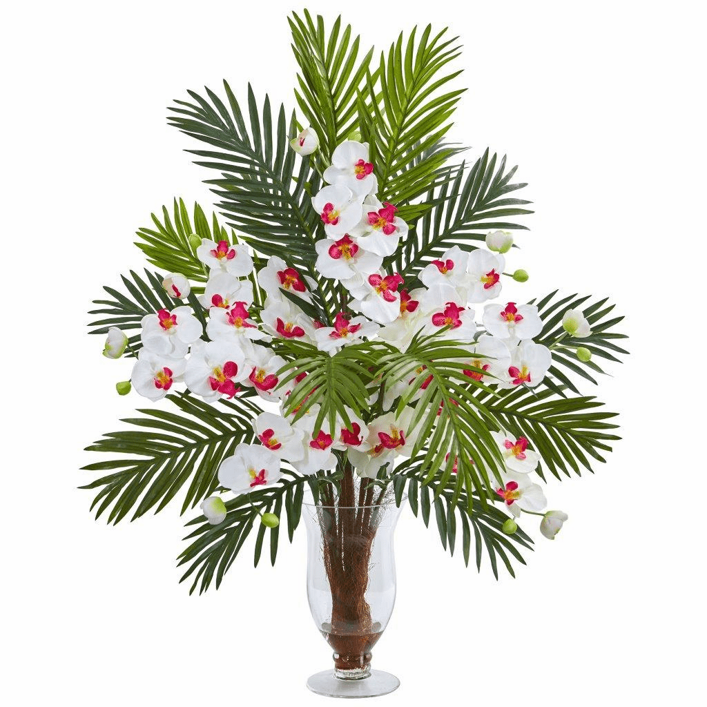 """30"""" White Phalaenopsis Orchid and Areca Palm Artificial Arrangement"""