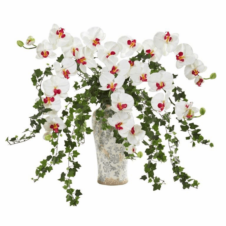 White Phalaenopsis Orchid and Ivy Artificial Arrangement  in Urn