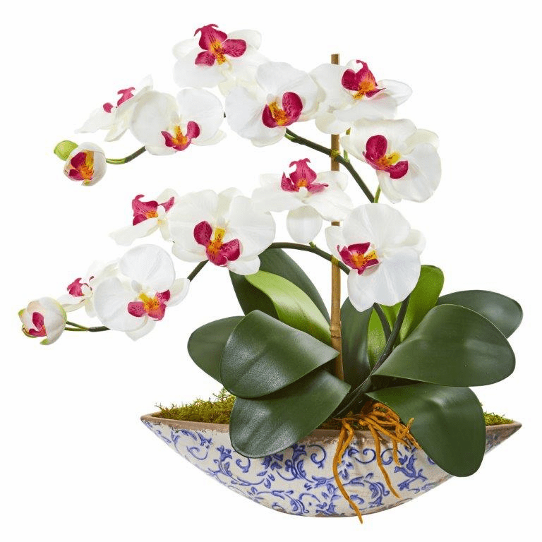 "16"" White Phalaenopsis Orchid Artificial Arrangement in Vase"