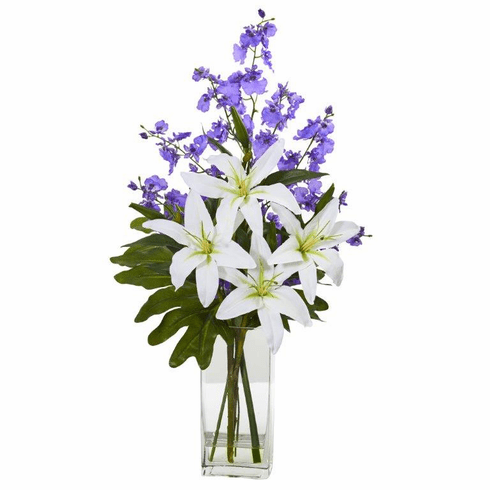 White Purple Lily and Dancing Lady Orchid Artificial Arrangement