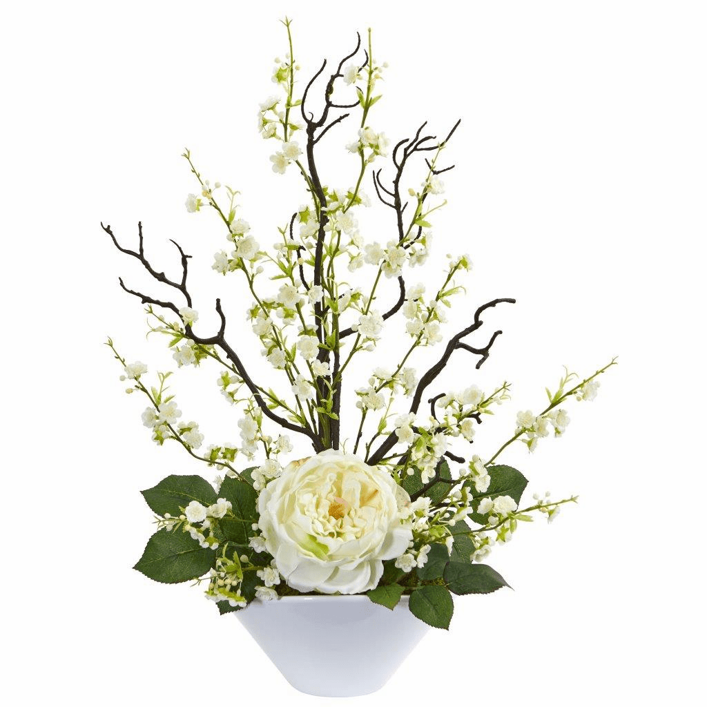 "23"" White Rose & Cherry Blossom Artificial Arrangement"