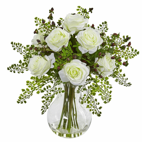 "16"" White Roses & Maiden Hair Artificial Arrangement in Glass Vase"