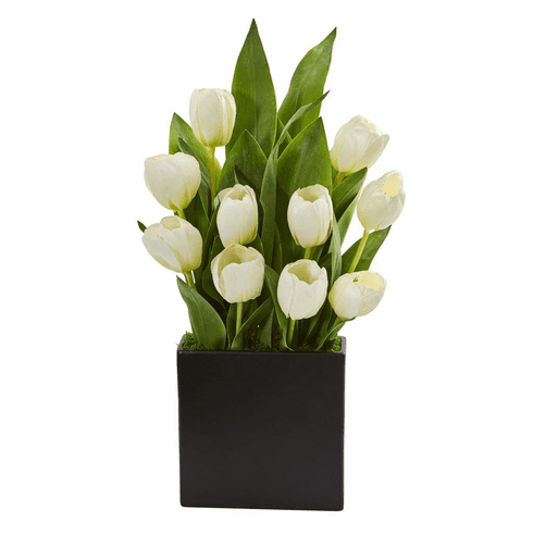 "21"" White Tulips Artificial Arrangement in Black Vase"