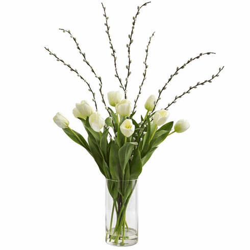"35"" White Tulips Artificial Arrangement in Cylinder Vase"