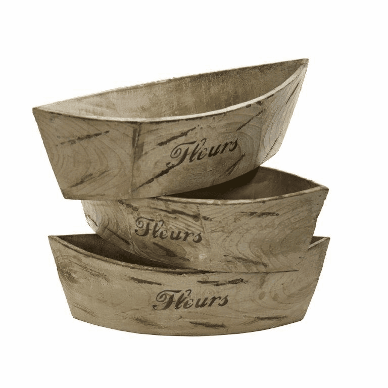 White Washed Wood Planter (Set of 3) - N/A