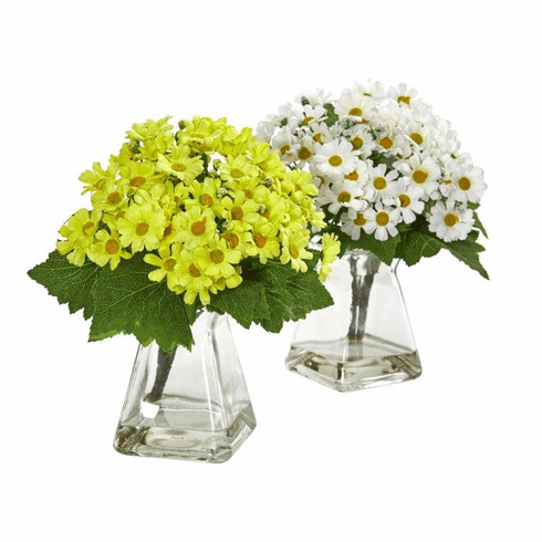"""9"""" White Yellow Daisy Artificial Arrangement in Vase (Set of 2)"""
