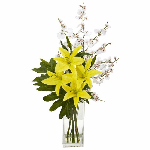 "28"" White Yellow Lily and Dancing Lady Orchid Artificial Arrangement"